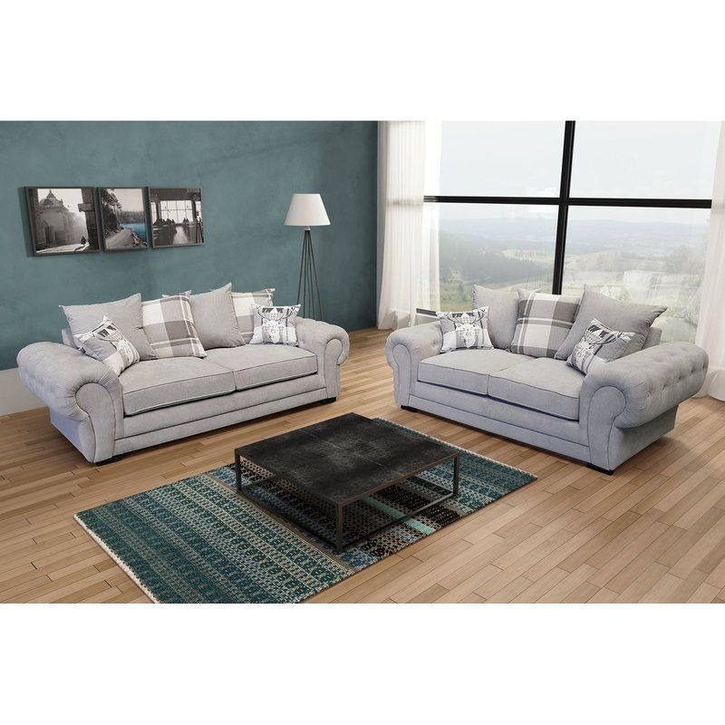 Magnificent 2 Piece Sofa Set 7 Seater Light Grey Fabric Cushion Seat Gmtry Best Dining Table And Chair Ideas Images Gmtryco