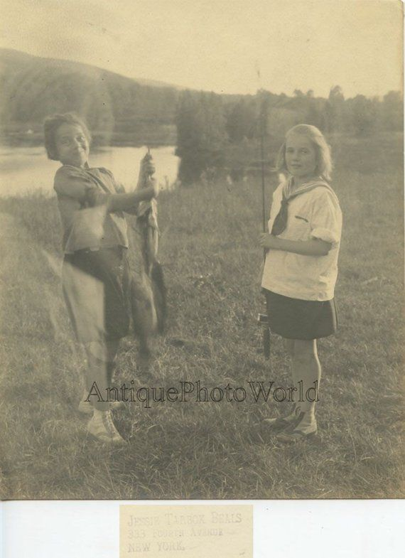 Camp Nyoda NJ girls fishing w huge fish antique art photo