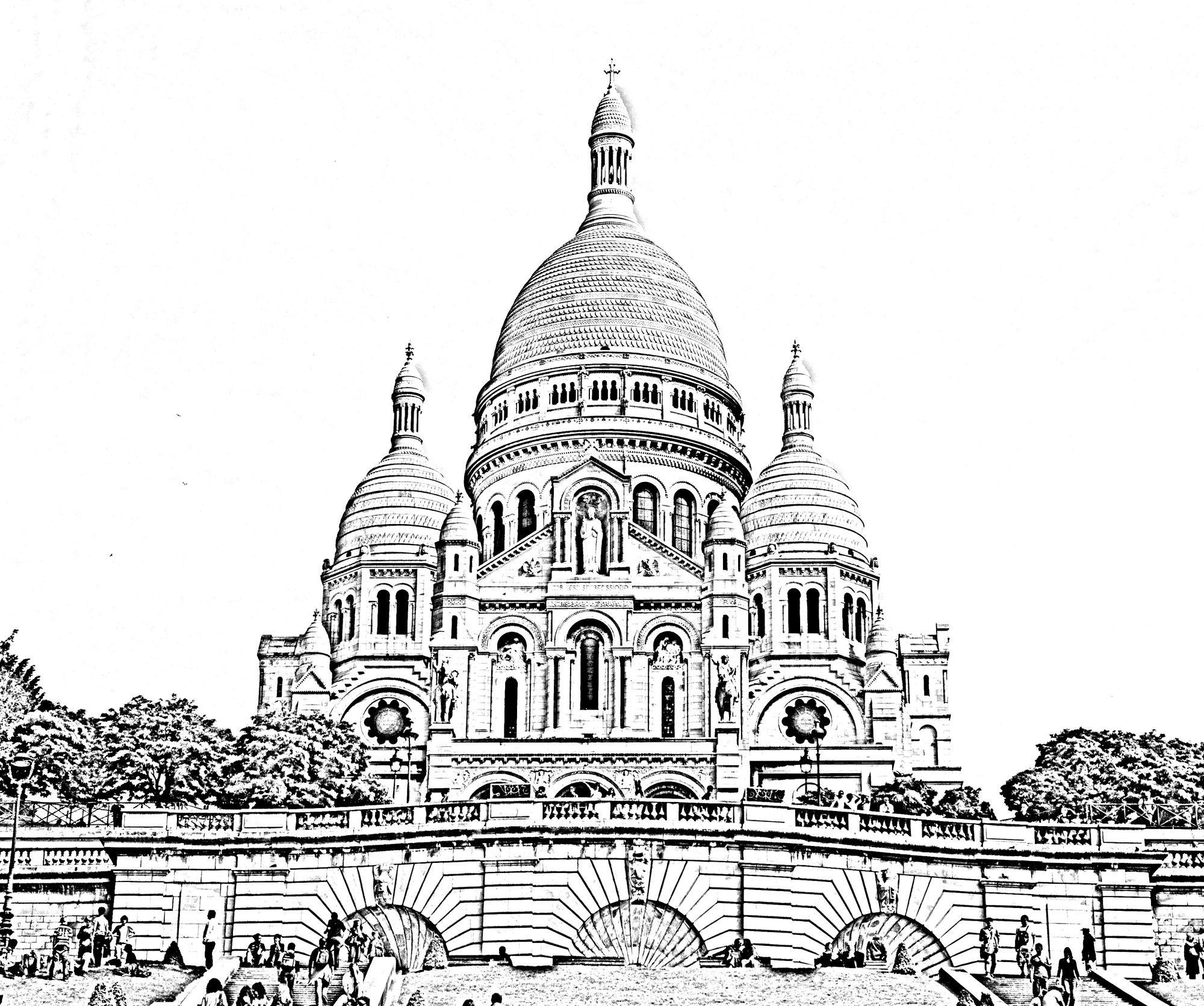 Free coloring page coloring-sacre-coeur-paris. The ...