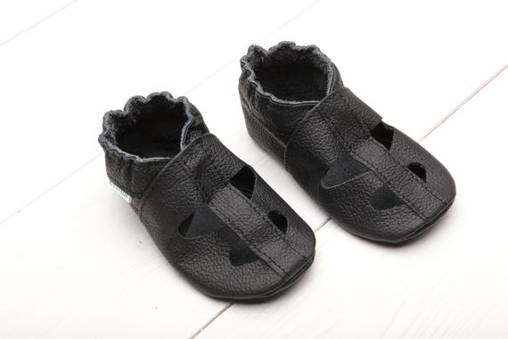 aa7b94a962a7e Black Soft Sole Baby Sandals, Leather Baby Shoes Summer, Boys ...