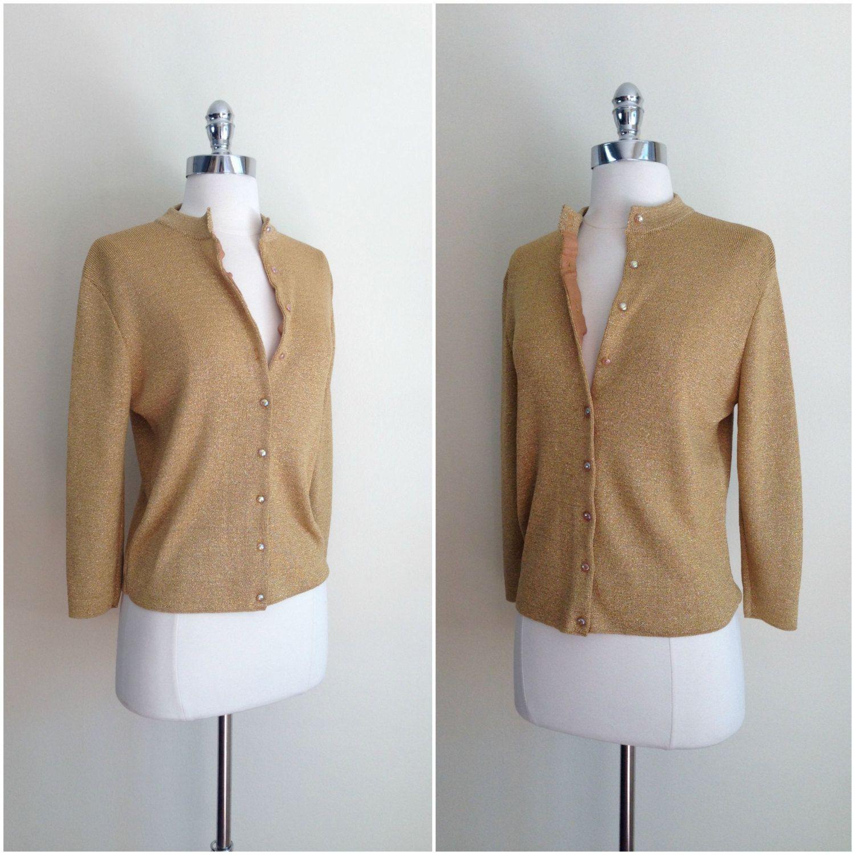Vintage 50's gold metallic cardigan / Metallic gold cardigan ...