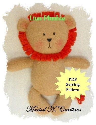 Lion Plushie PDF Sewing Pattern - Softie, Plushie, Stuffed Animal ...