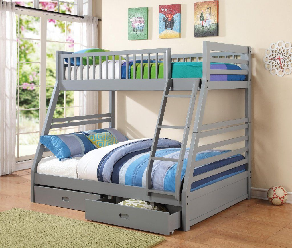 Grey Twin Over Full Bunk Bed Twin full bunk bed, Bunk