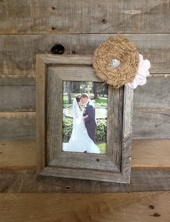 Burlap home decor rustic burlap frame 4x6 rustic home for Barnwood decor