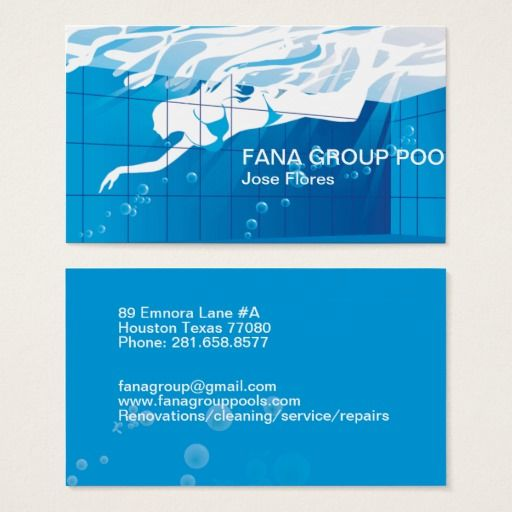 Swimming Pool Business Business Card Custom Pools Swimming