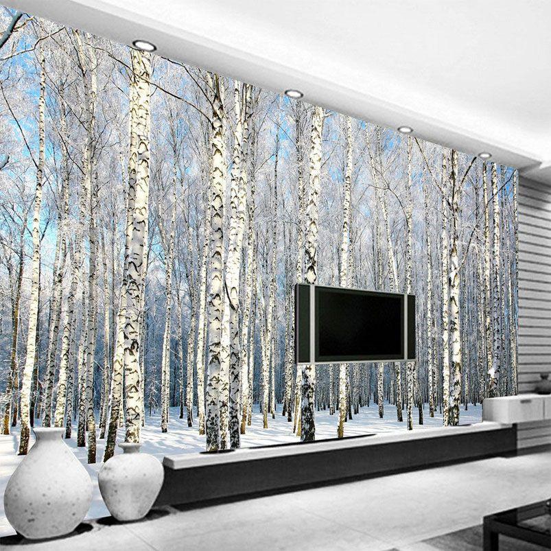Goedkope Custom 3d foto behang berkenbos sneeuw landschap