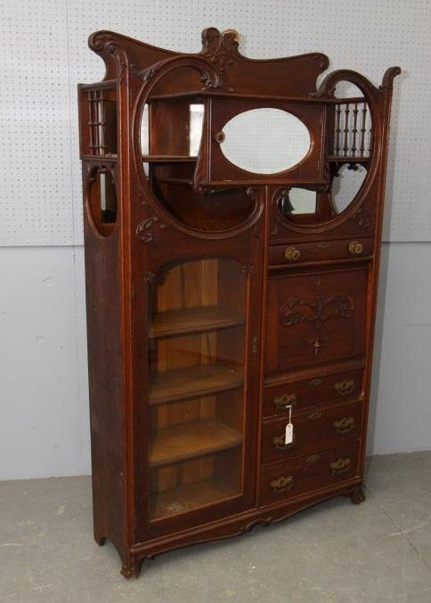 Late 19thC, early 20thC ornate side by side with beveled glass ...