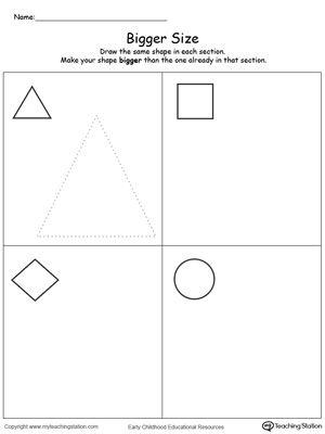 Draw A Bigger Size Shape Printable Math Worksheets Shapes Worksheets Math Worksheet