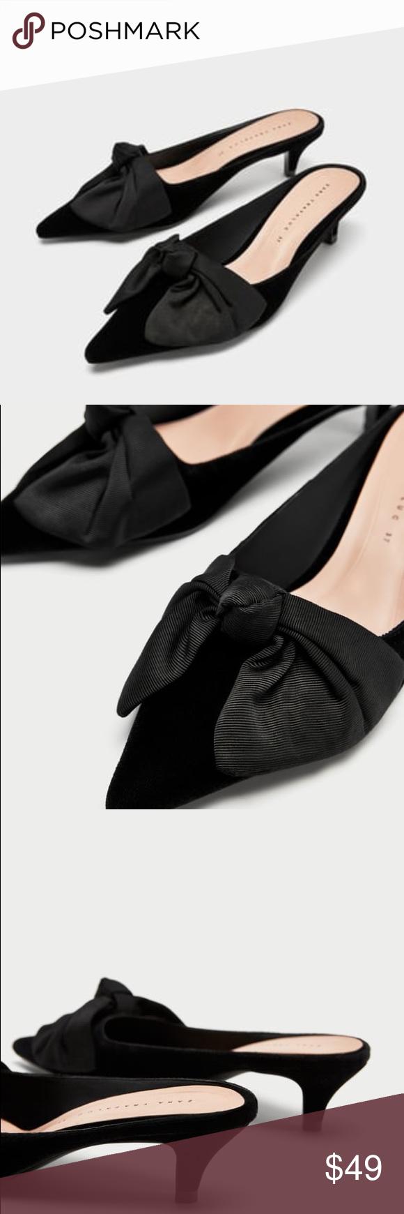 Zara Kitten Heels Mules With Bow Size 7 5 Heels Kitten Heels Heeled Mules