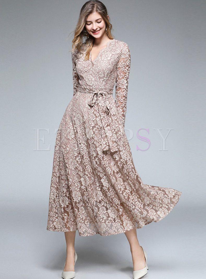 V Neck Long Sleeve Lace Party Maxi Bridesmaid Dress Lace Dress Casual Long Sleeve Maxi Dress Maxi Bridesmaid Dresses [ 1066 x 789 Pixel ]