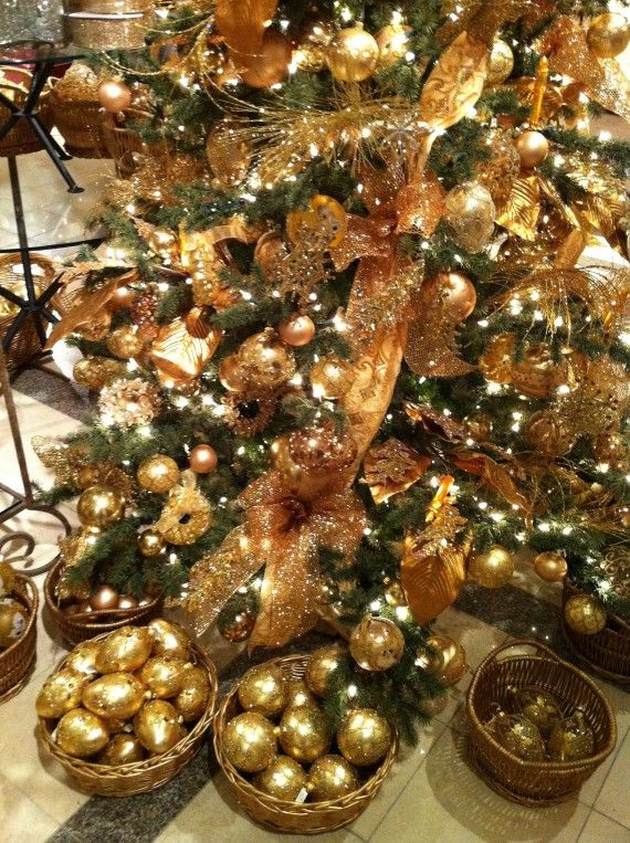 High Quality Gold Christmas Tree At Halls Department Store