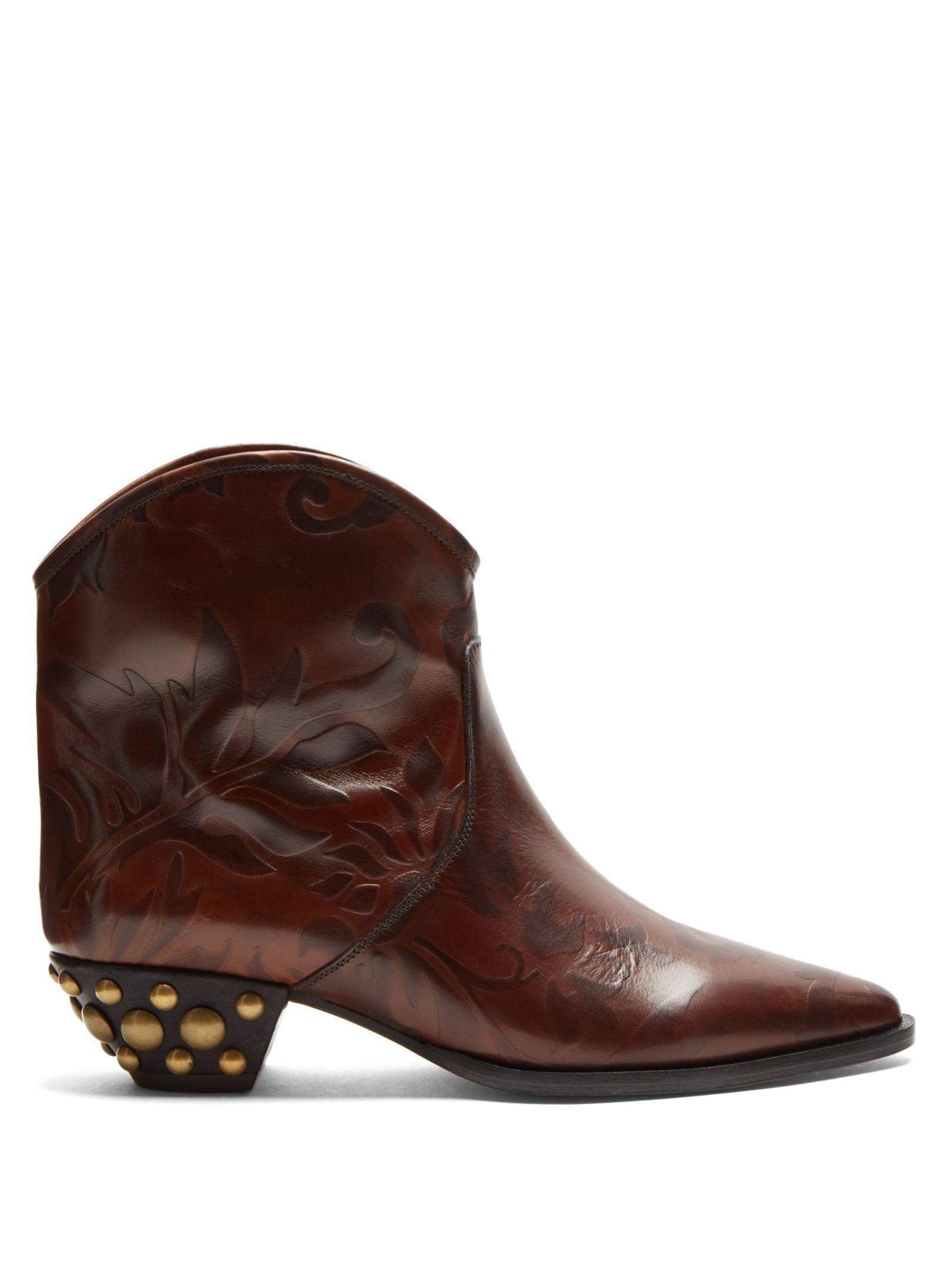 99aa52571bc ISABEL MARANT DAWINA EMBOSSED LEATHER ANKLE BOOTS.  isabelmarant  shoes