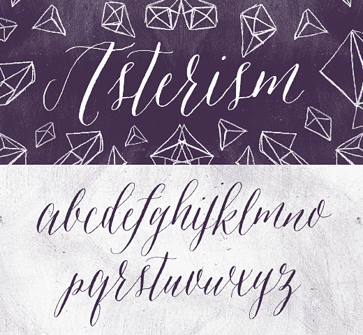 Asterism from myfonts. Lankamainen, käsinkirjoitetun näköinen, mutta kirjallisen näköinen.  Visit our website at www.firethorne.org! #typeface #fonts #design #fontdesign #creativedesign #creative