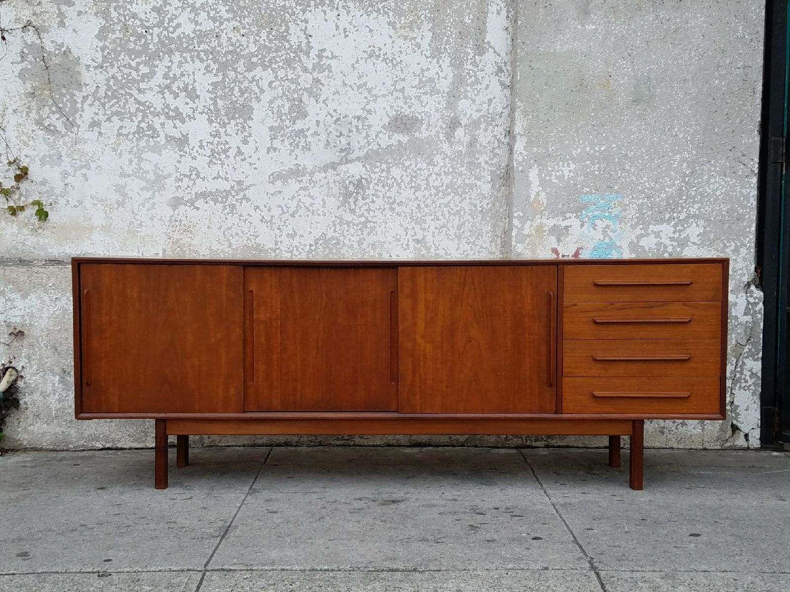 Teak Danish Credenza : Vintage danish teak mid century credenza sideboard