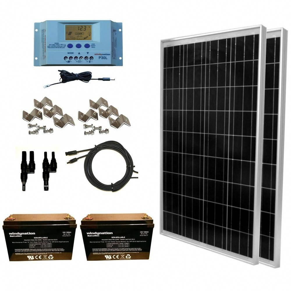 Windynation 200 Watt Off Grid Polycrystalline Solar Panel Kit With 12 Volt Agm Deep Cycle Battery Solar Solar Panel Kits Best Solar Panels Solar Energy Panels
