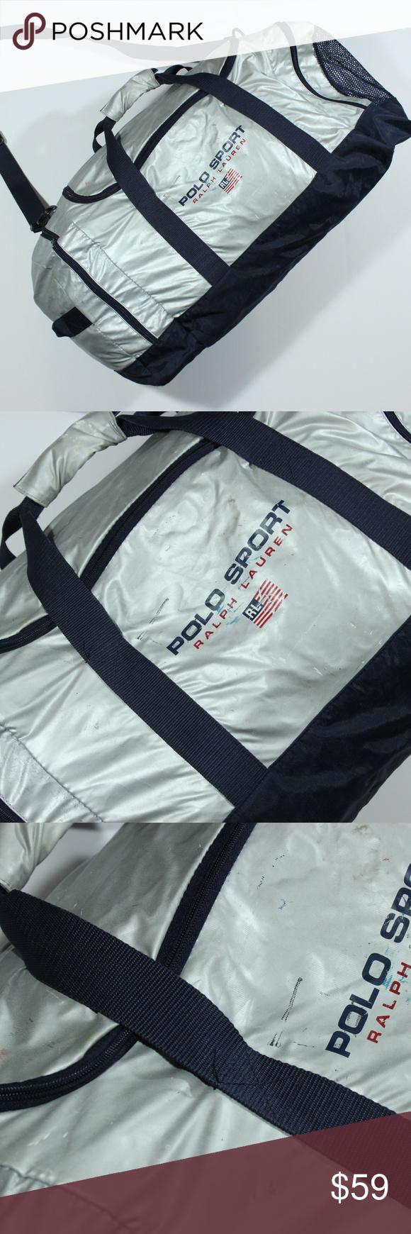 3915b538aeb4 Vtg Polo Sport Duffel Silver Gym Bag 90s Flag Logo Vintage Authentic Polo  Sport Duffel Silver