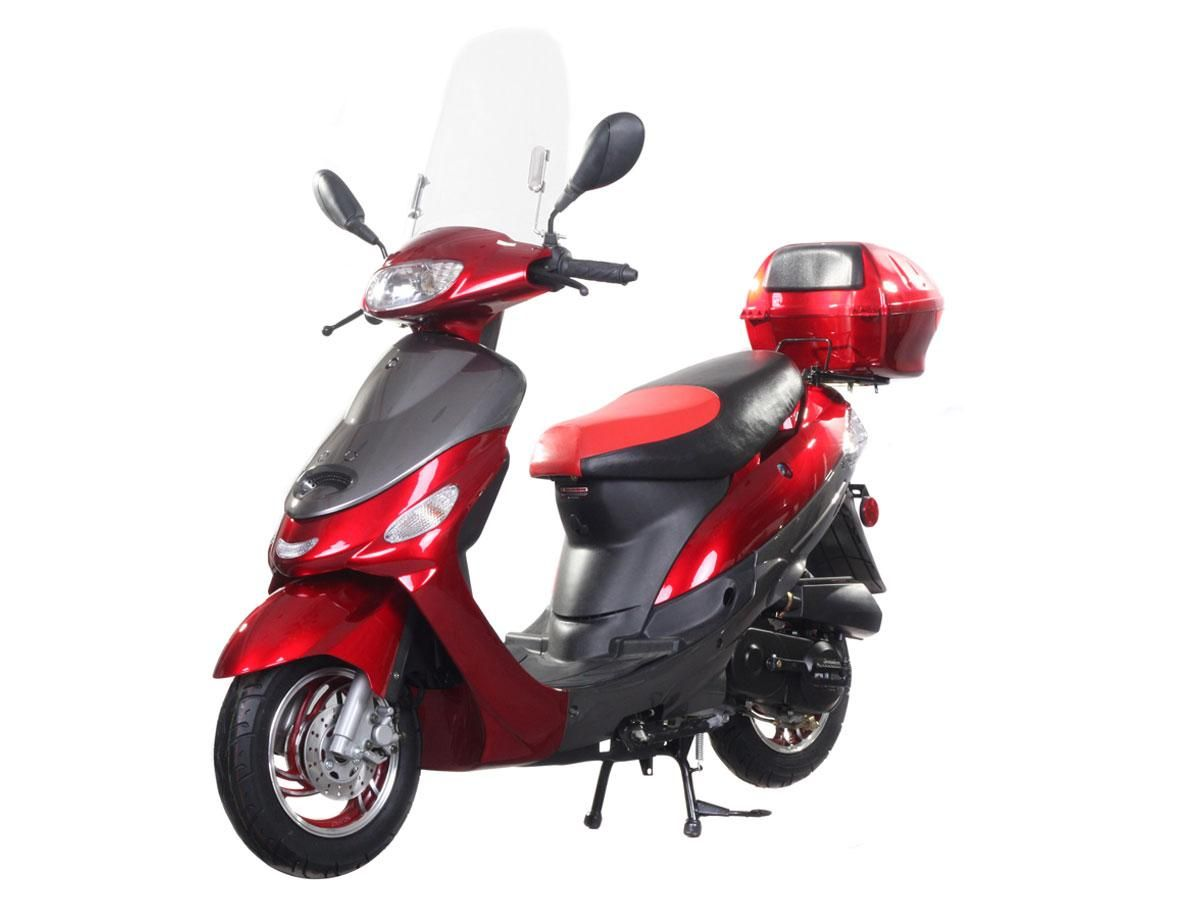 """SCO001 50cc Scooter Brand Engine, Automatic Transmission, Front Disc/Rear Drum Brake, 10"""" Wheels, Metallic Paint, Windshield, Rear Trunk, Most Popluar Scooter $580.00"""