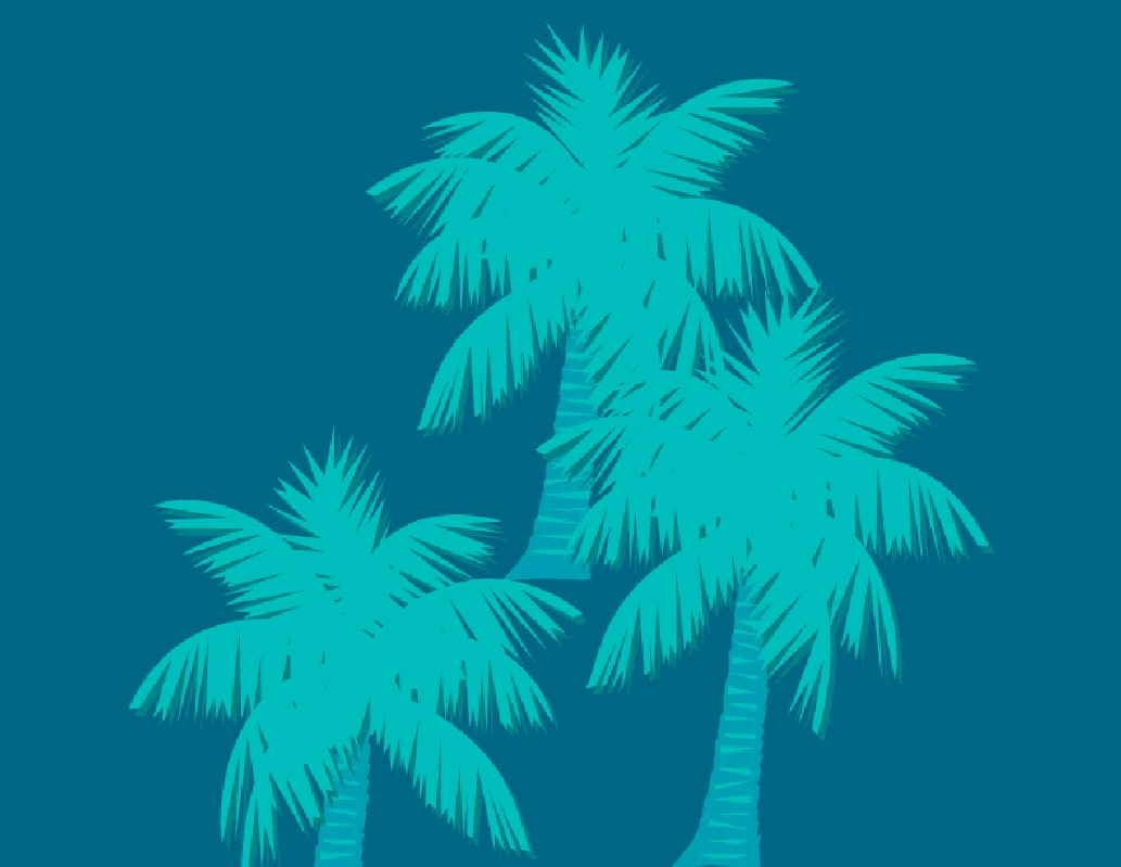 Teal Palm Trees