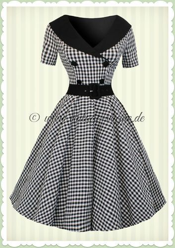 Hell Bunny 50er Jahre Rockabilly Gingham Kleid - Bridget - Schwarz Weiß ceff50d7cc