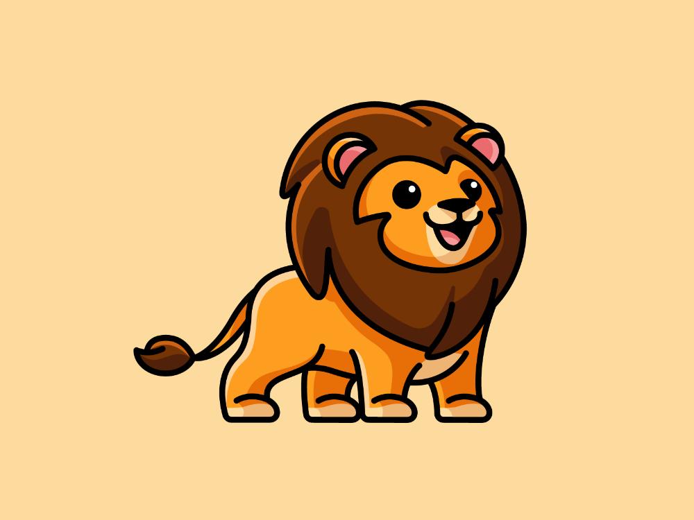 Lion Cartoon Lion Lion Illustration Cute Animal Drawings