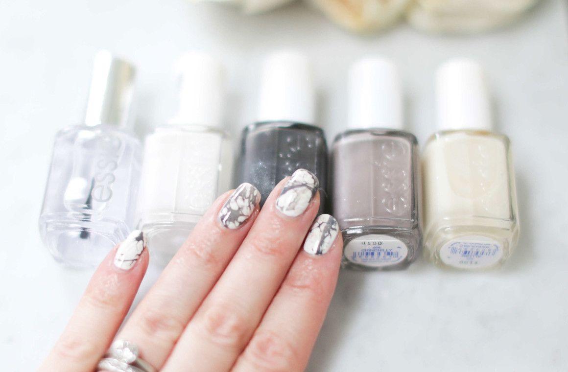white marble nails, marble nail art, hairspray nail art, essie ...