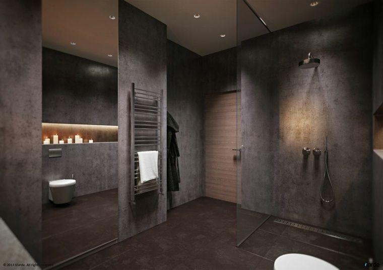 Salle de bain noire, marron et grise  comment lu0027aménager ? Searching - salle de bains douche italienne