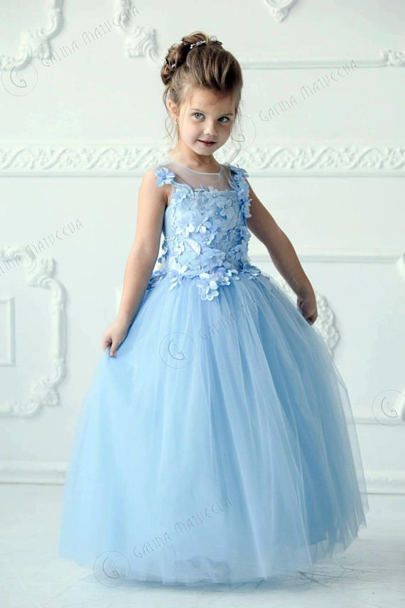 fd98cab90c4 Blue Flower Girl Dress - Birthday Wedding party Bridesmaid Holiday Blue  Tulle Lace Flower Girl Dress