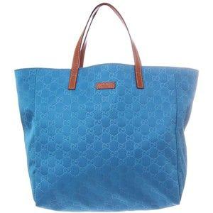 032a58dc4bd224 Gucci Bright Blue GG Print Small Tote Style Nylon Beach Bag   in ...