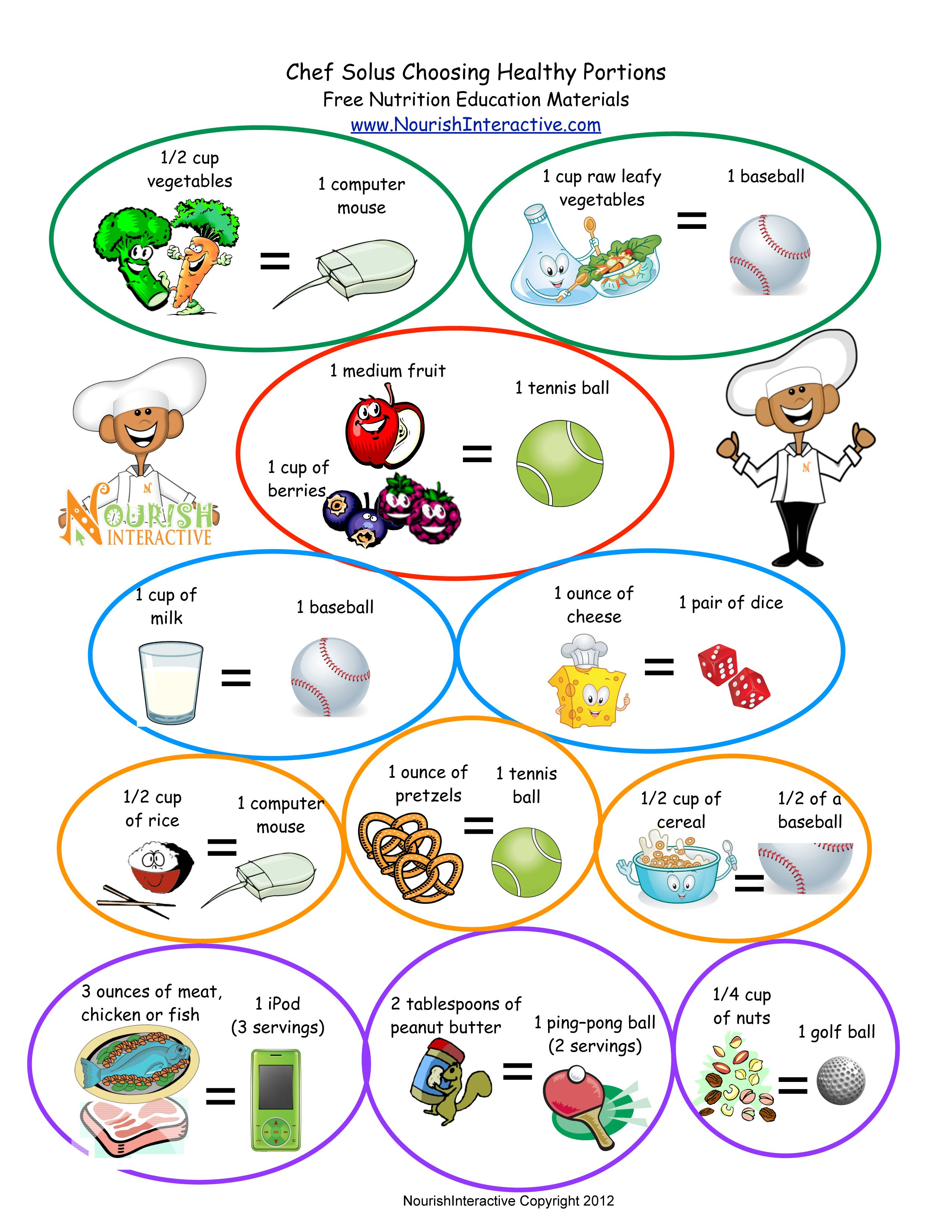 Food Group Portion Size Comparison Household Items With