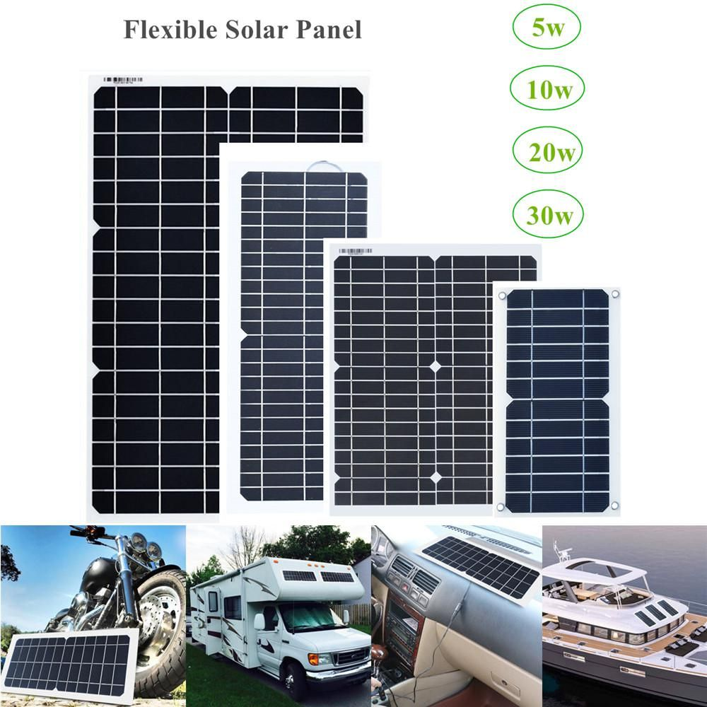 Xinpuguang Flexible Solar Panel 12v 18v 5w 10w 20w 30w Kit Home System Charger Dc Usb For 5v Phone Car Rv Battery Hiking Camping Flexible Solar Panels Solar Panels Solar Panel Cost