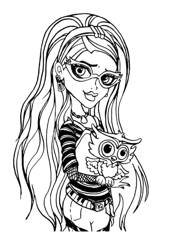 Ghoulia Yelps With Pets The Owl Coloring Pages - Monster High ...