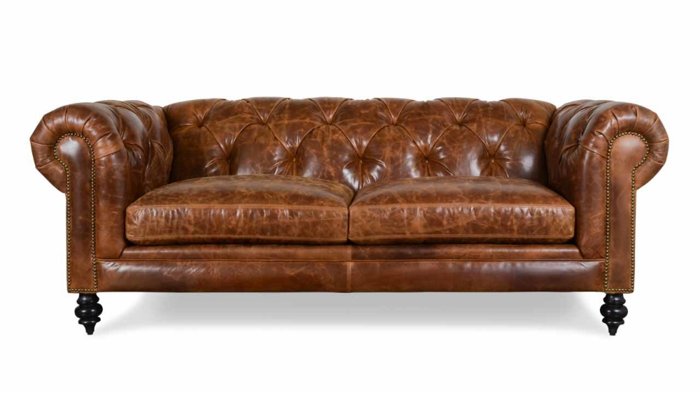 Soho Chesterfield Leather Loveseat 85 Biltmore Sycamore ...