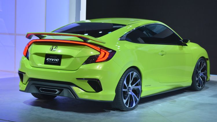 Honda Civic Concept Is Your Average Neon Green Turbocharged Show Stealer W Video Honda Civic Honda Civic Si Honda Civic Coupe