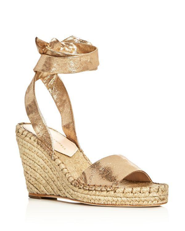 c7f3373c04a Loeffler Randall Harper Metallic Ankle Tie Espadrille Wedge Sandals ...