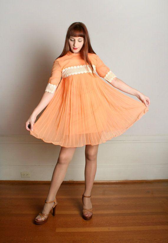 Vintage 1960s Babydoll Dress Orange Creamsicle Pleated Dolly Dress Small Xs Babydoll Dress 1960s Babydoll Dress Dresses