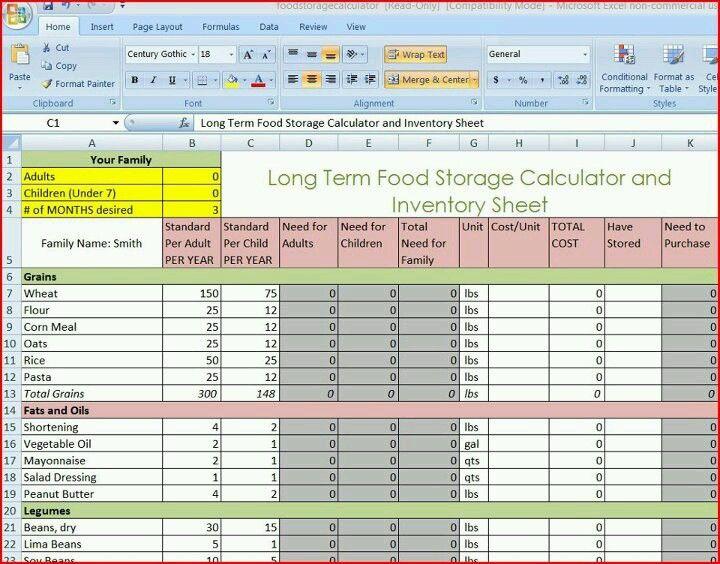 Long Term Food Storage Chart Emergency Food Storage Food