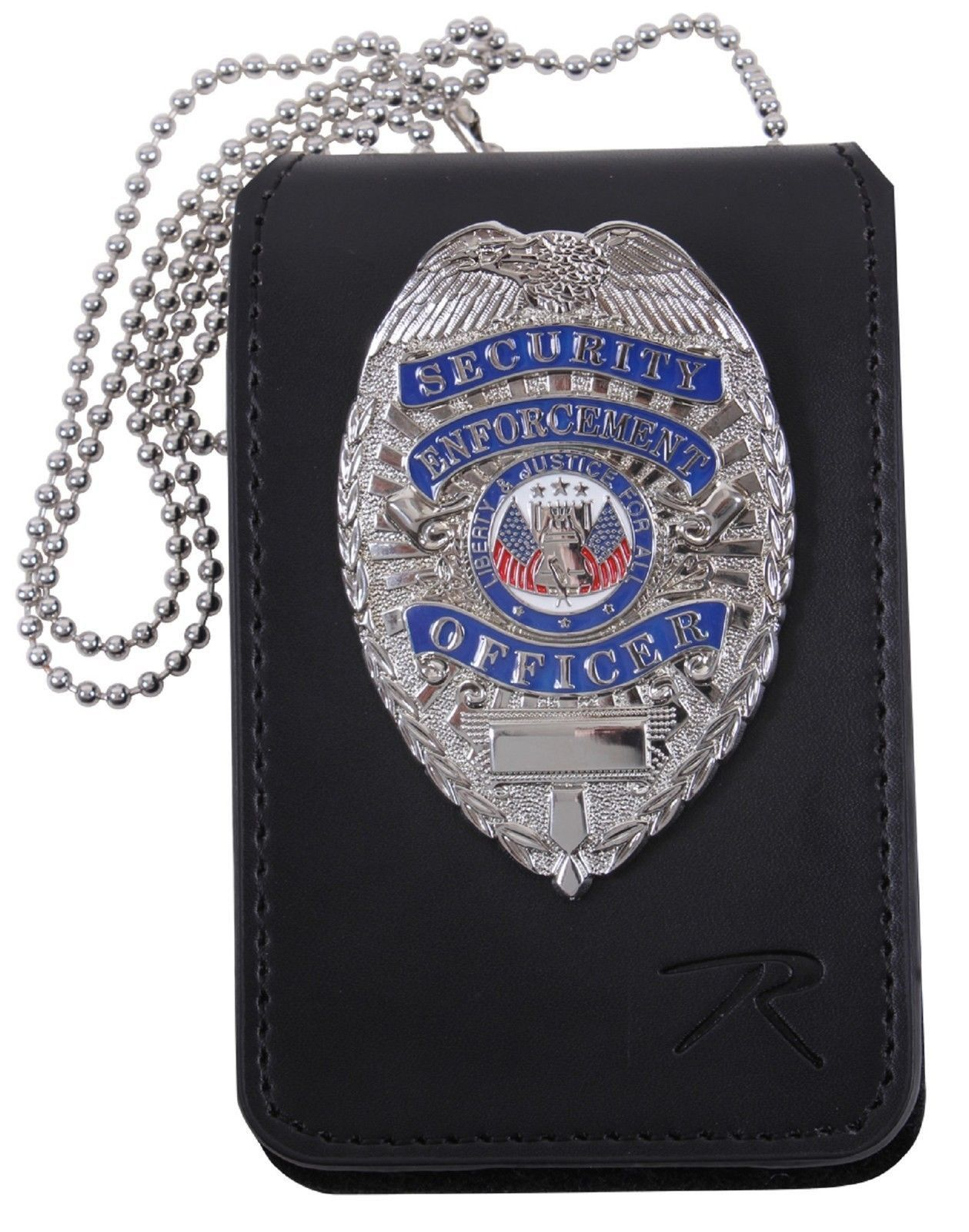 US MILITARY ID HOLDER BADGE HOLDER LEATHER ID BADGE CASE WITH NECK CHAIN