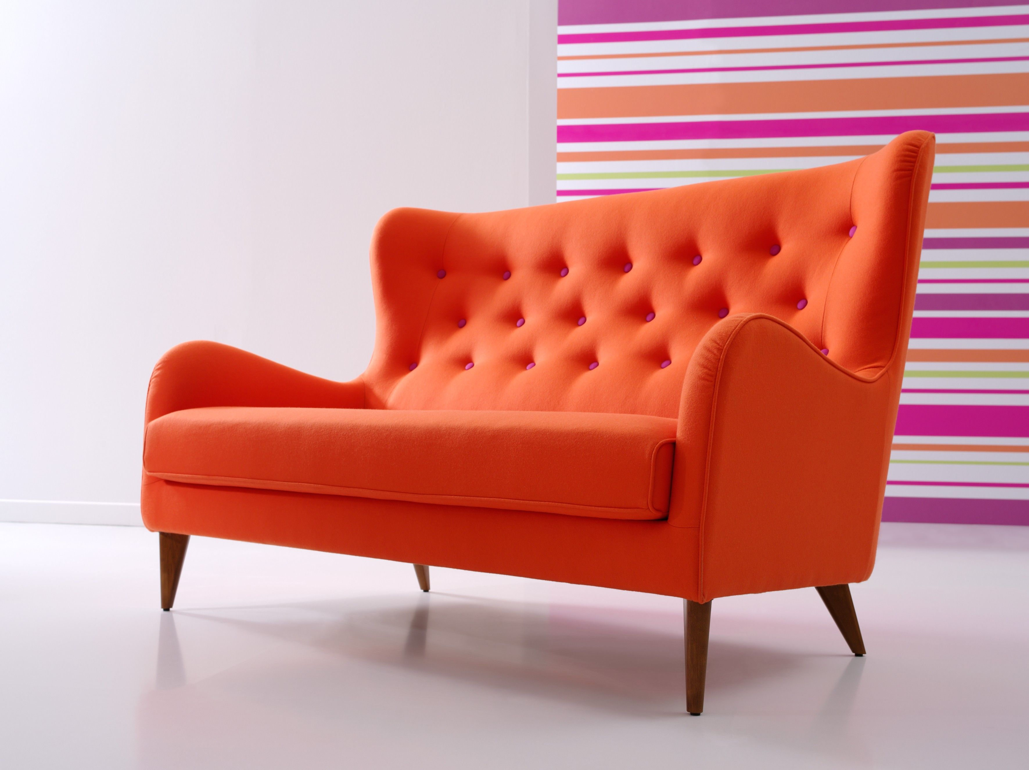 Furniture Wing Tufted Backseat Modern Orange Sofa With Four Base
