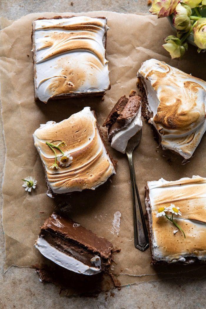 S'mores Chocolate Mousse Bars | halfbakedharvest.com #smores #dessert #chocolate #summerrecipes