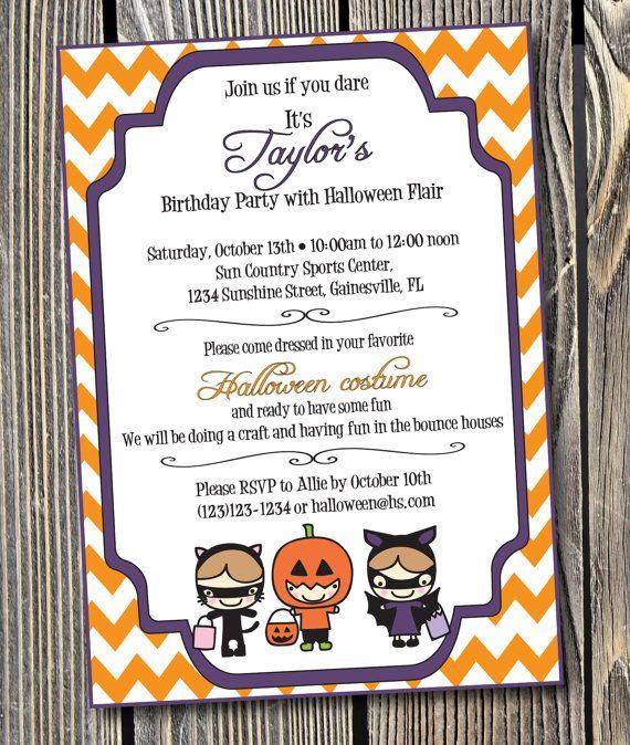 Halloween Birthday Party Custom Printable Invitation RBDP