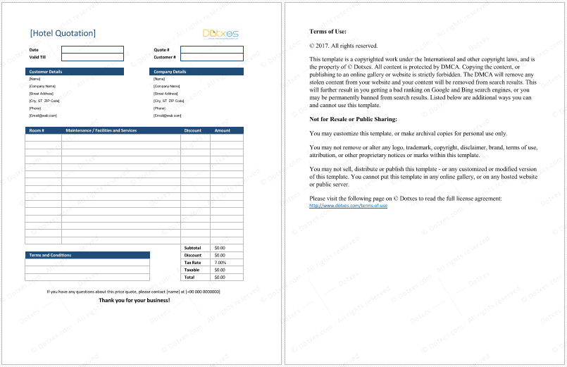 Hotel Quotation Format for Excel – Website Quotation