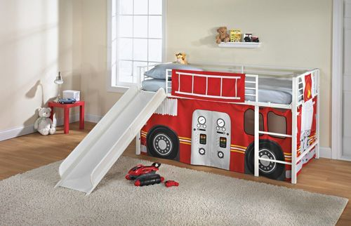 New Kids Twin Loft Bed Curtain Flowers Fire Truck Play