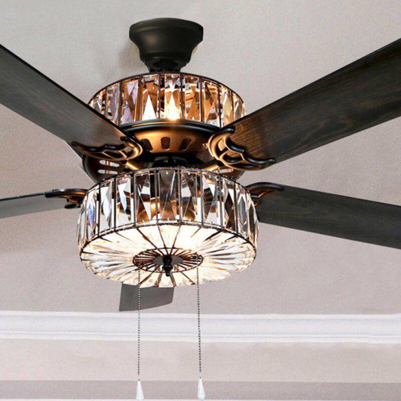 Kelly Clarkson Home 52 5 Blade Ceiling Fan With Light Kit Included Reviews Wayfair In 2020 Ceiling Fan Ceiling Fan With Light Fan Light
