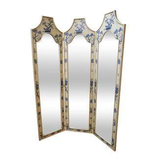 Toile Painted Faux Bamboo Hollywood Regency Mirror
