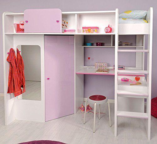 Parisot Kinderbett Hochbett Mademoiselle Yasmin In Weiss Lila