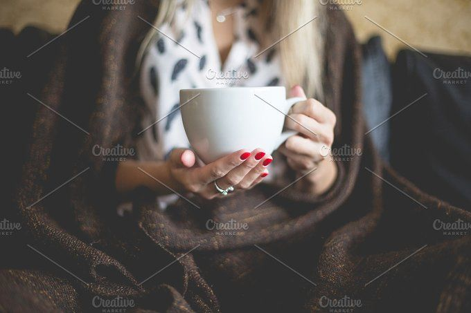 Woman with a Cup of Tea by Viktor Hanacek on @creativemarket