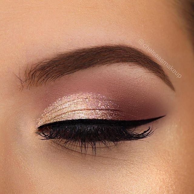 Warm brown eyes and rose gold eye shadow