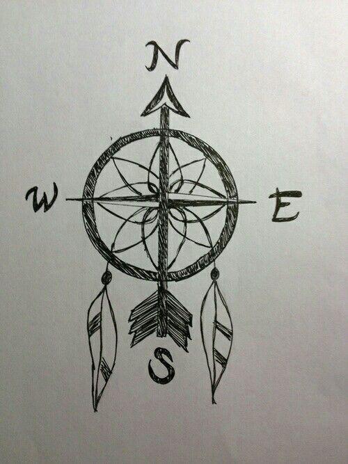 boussole/capteur de rêves | tattoo | pinterest | tatouage, dessin et