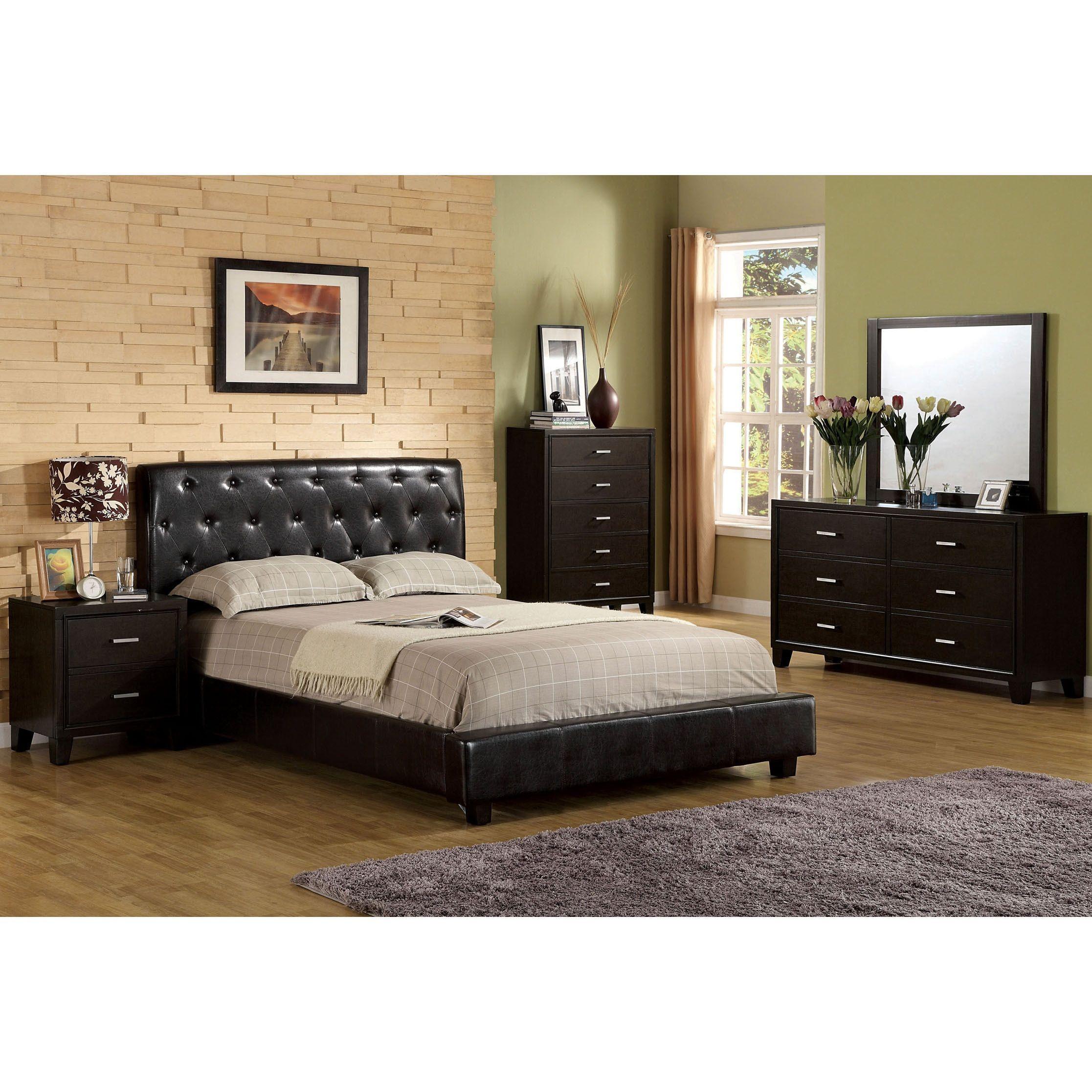 Furniture of america pendezi modern piece espresso bedroom set