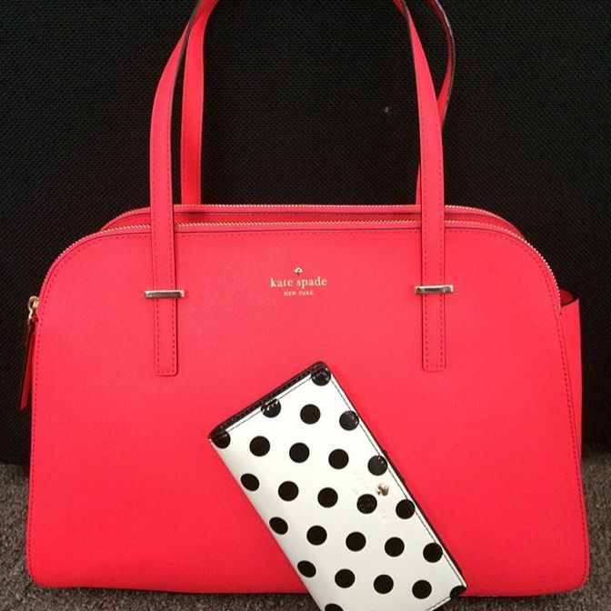 Kate Spade Coral Pink Red Bag And White With Black Polka Dot